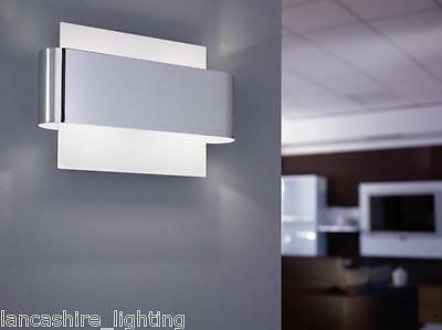 Modern Polished Chrome Wall Light With Shiny White Panel - Complete With 2 x 40W