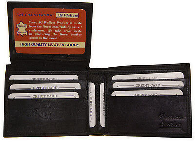 Bifold Wallet Men's Genuine Leather Black Credit Card/ID Holder Slim Purse Flap!