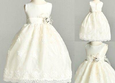 Ivory Lace Communion Baptism Wedding Bridesmaid Flower Girl Toddler Dress #11