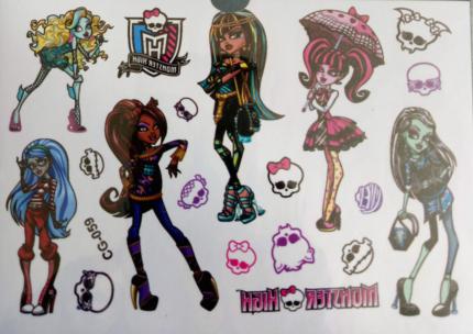 New Monster High kids temporary tattoo