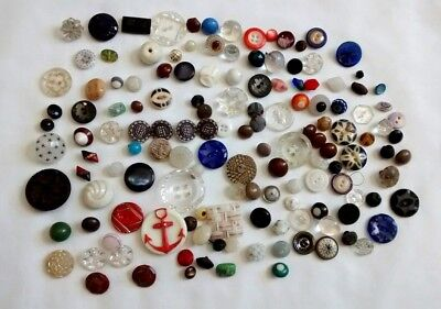 Large Antique Fancy Glass Buttons Mixed Lot Faceted Luster Star Victorian