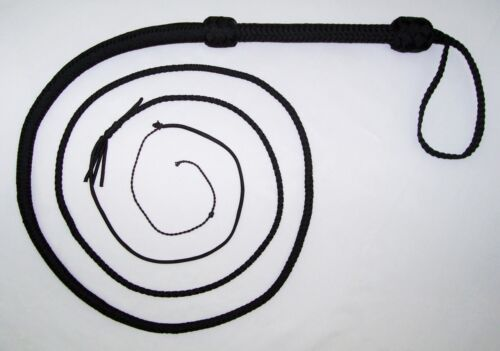 8 foot 16 plait BLACK NYLON well-weighted shot loaded REAL Bullwhip whip