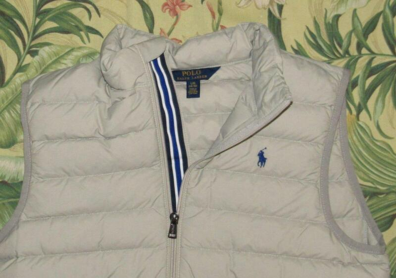 Boys Polo RALPH LAUREN Gray Down Fill Puffer Vest Youth Large YL