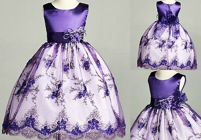 Flower Girl Dress Purple (Purple Lace Floral Holiday Wedding Birthday Party Pageant Flower Girl Dress)