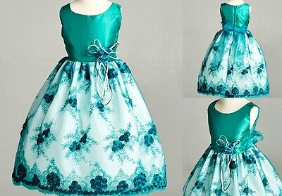 Flower Girl Dresses Teal (Teal Floral Lace Easter Wedding Recital Bridesmaid Flower Girl Dress Gown)