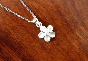 Hawaiian Jewelry 925K Sterling Silver 10MM  PLUMERIA Pendant Necklace SP44901