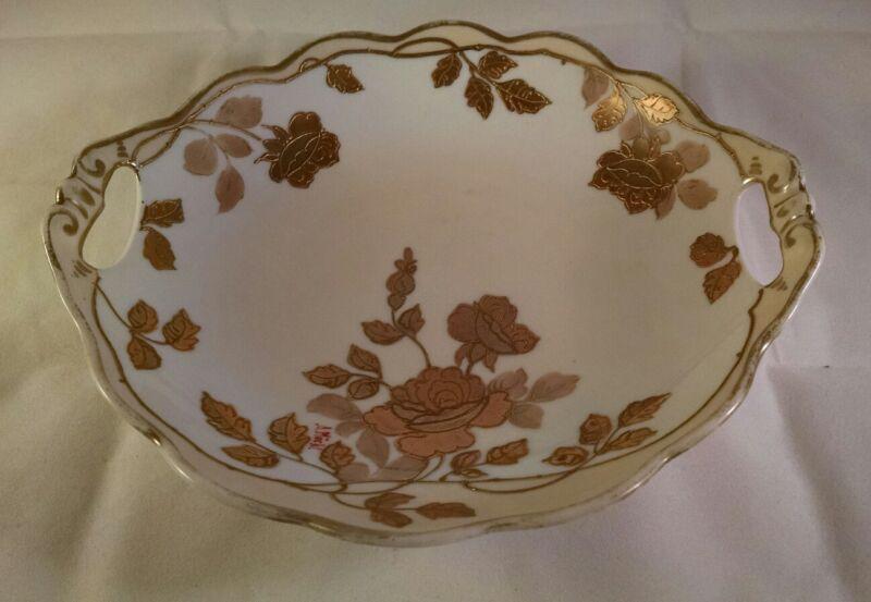 "MZ Austria Moritz Zdekauer Gold Roses Scalloped Bowl Pierced Handles 7 1/4"""