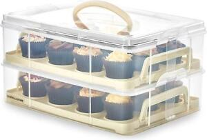 Andrew James Cupcake Holder / Cake Carrier Container Storage Box Caddy In Cream