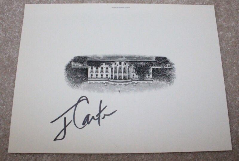 39TH PRESIDENT JIMMY CARTER SIGNED 6X8 INCH WHITE HOUSE ENGRAVING W/COA