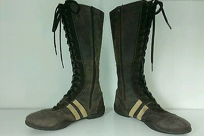 SACHA MADE IN ITALY SZ 8 BRN LEATHER MID CALF SNEAKER BOOT WOMEN LACE UP/ZIPPER -