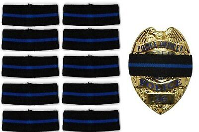 10-PACK Hero's Pride Thin Blue Line Stripe Mourning Band for Police Badges 3/4""