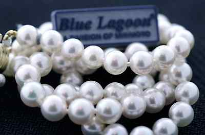 Mikimoto Blue Lagoon 6.0-6.5mm Pearl Necklace 16 Inch 14k Yellow Gold Clasp