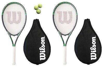 2 x Wilson Tour Tennis Rackets L3 + Covers With Strap + 3 Tennis Balls RRP £110