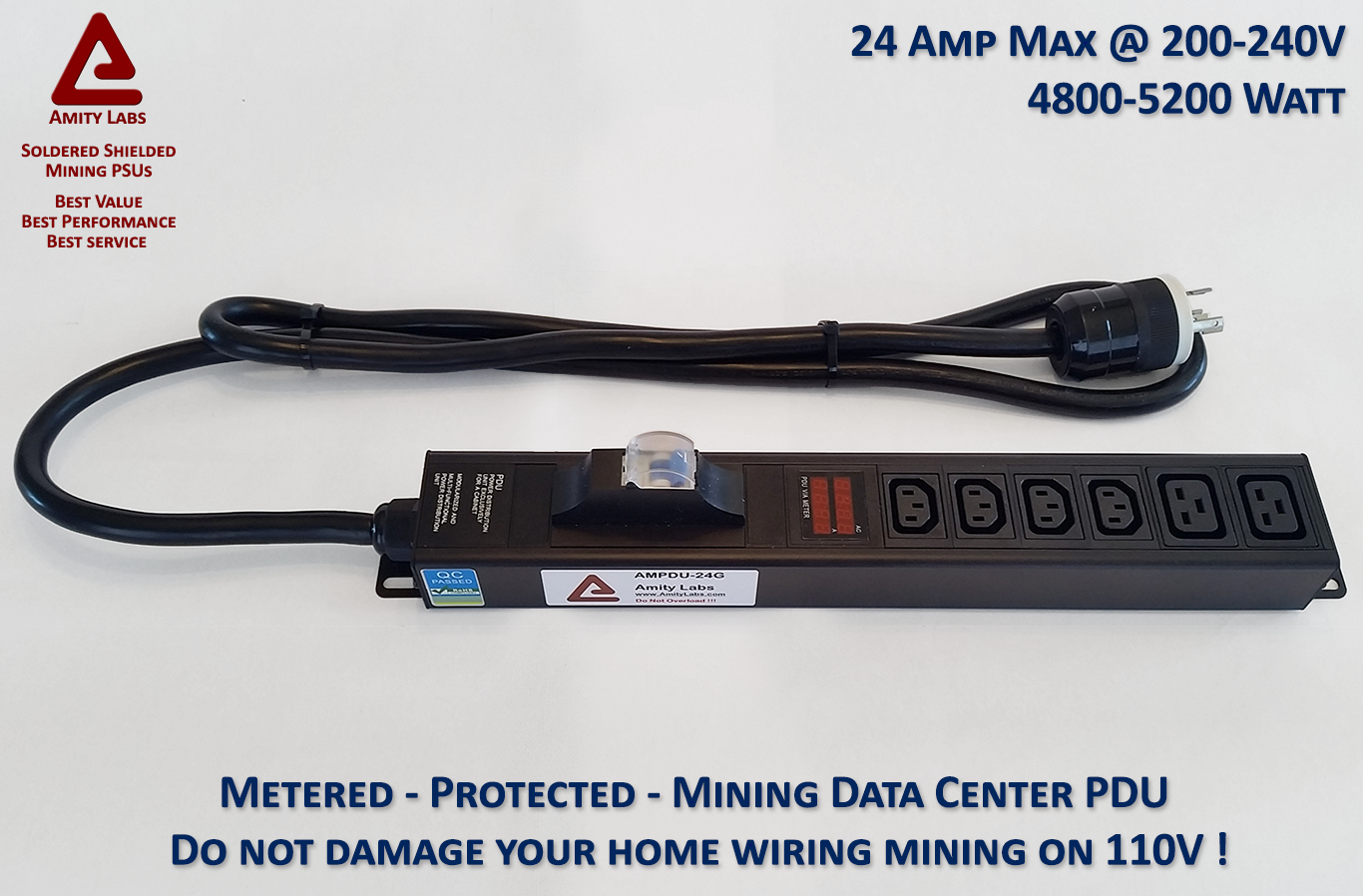 Optimized Cryptocurrency Mining PDU - Six 220V Outlets and VA Meter