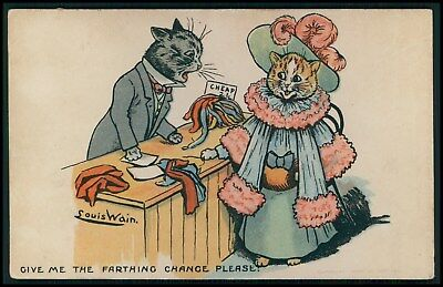 art Louis Wain dressed cat fashion farthing chance original old 1910s postcard