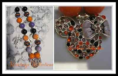 Halloween Bubblegum Necklace (Girls kid chunky bubblegum  necklace USA NEW HALLOWEEN MOUSE ORANGE BLACK)