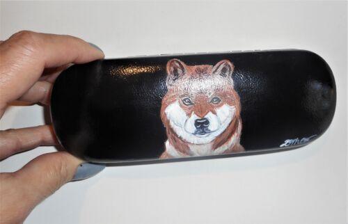 Shiba Inu Dog Hand Painted Hard Eyeglass Glasses Case