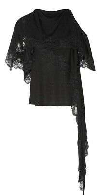 NWT Givenchy One Shoulder Asymmetrical Lace Trim Top Black $1550