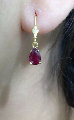 (14k Solid Gold Leverback One Stone Dangle Earrings, Natural Pear Ruby 1.8TCW)