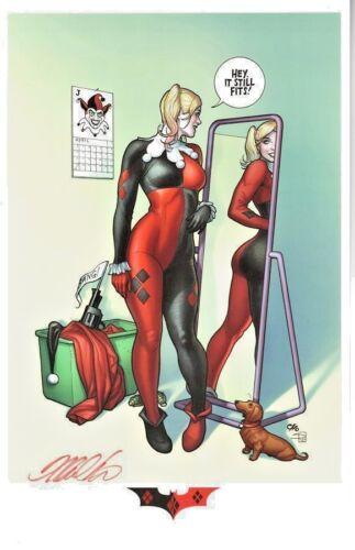DC Comics VINTAGE HARLEY QUINN Print Signed Frank Cho BATMAN JOKER POISON IVY