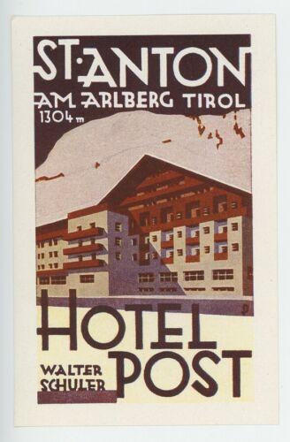 1950s St. Anton Hotel Post Vintage Luggage Label Tirol Tyrol Austria Alps Winter