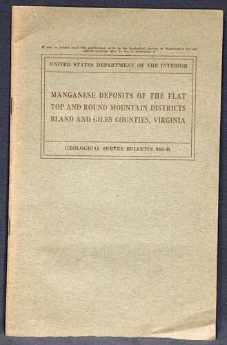 USGS VA MINING, FLAT TOP & ROUND MOUNTAIN 1944 Bland & Giles Counties With MAPS!