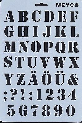 Wall Stencil Reusable Alphabet Stencils Letters Numbers Includes Brush   No12