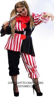 Clown-Halloween-Scary Ladies BLACK/RED/WHITE CLOWN Costume & Weapon PLUS SIZES - Halloween Ladies Clown Costumes
