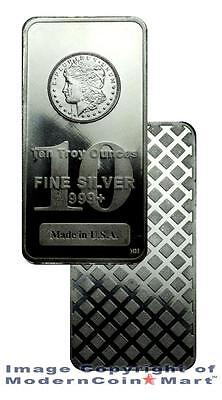 Morgan Dollar Design 10 Troy Ounce .999 Fine Silver Bar - MADE IN USA SKU27207