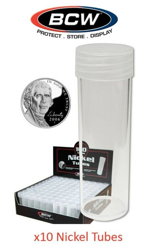 10 Round US Nickel 5 Cent Clear Plastic Coin Storage Tubes w/ Screw On Caps BCW