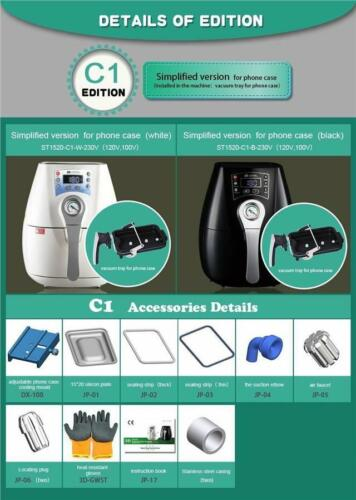 Heat Press 3D Vacuum Mini ST-1520 Sublimation Oven Machine for Heat Transfer 2