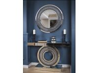 Beautiful mirror console table and round mirror new