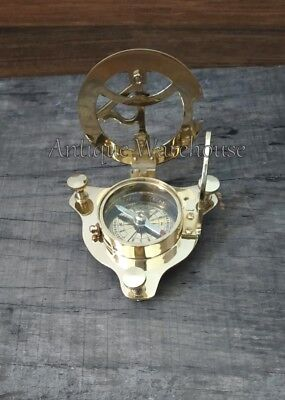Solid Brass Working Compass Nautical Desktop Sundial Compass Maritime Gift Decor