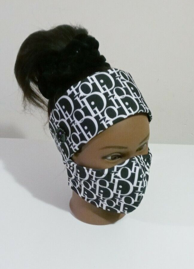 Women Headband With Button And Mask With Filter Pocket