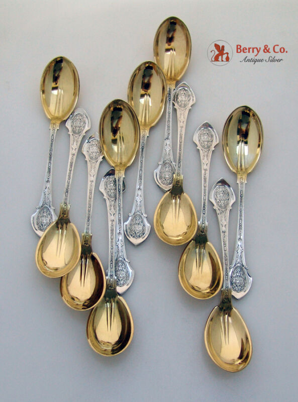 Angelo Fruit Spoons 11 Wood and Hughes 1878 Monogram P Gilt Bowls