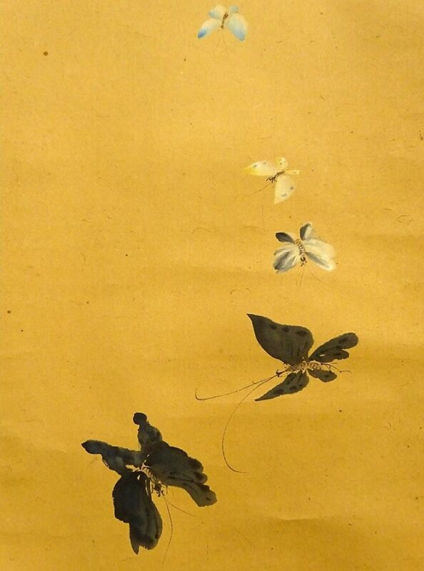 JAPANESE PAINTING HANGING SCROLL FROM JAPAN INK Butterfly ART OLD e350