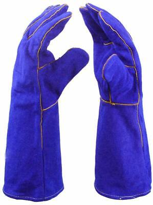 14 Inch Welding Gloves Heat Resistant Lined Leather For Tig Welders Bbq