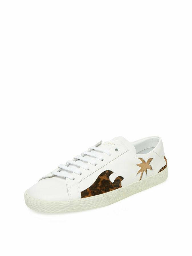 Saint Laurent Paris SL06 Signature Court Classic Palm White LowTop Shoes Sz 8