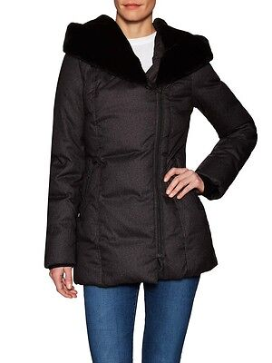 """NWT Soia & Kyo """"Christine"""" Down Coat With Faux Fur Hood, Size Large"""