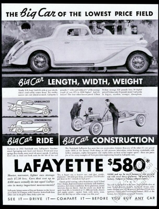 1935 Nash Lafayette coupe car illustrated vintage print ad