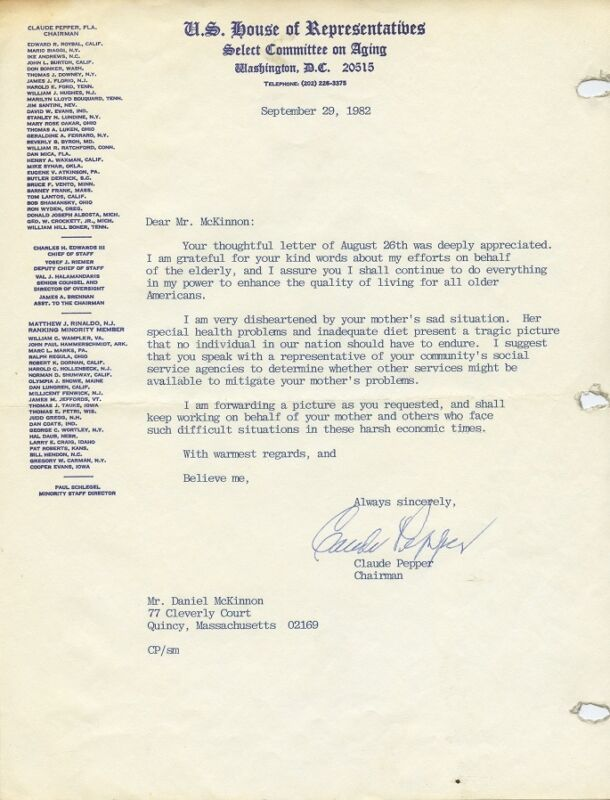 CLAUDE PEPPER Signed Letter & Signed Photo