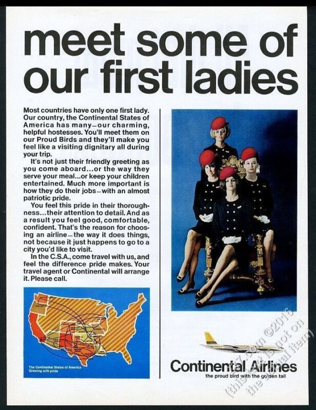 1968 Continental Airlines 4 stewardess photo Our First Ladies vintage print ad