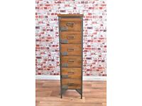Brand New Industrial Apothecary Chest of Six Drawers Tallboy Rustic Wood Finish - Shoe Storage