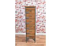 Industrial Apothecary Chest of Six Drawers Tallboy Rustic Wood Finish - Shoe Storage