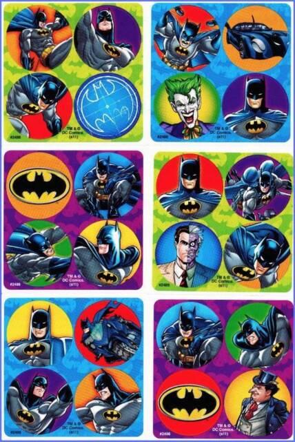 Batman Stickers Dots x 24 (6 sheets) - Favours - Superhero Dot - Birthday Party