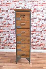 Industrial Apothecary Chest of Six Drawers Tallboy Rustic Wood Finish - Shoe Storage Unit