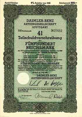 Germany 1942 Daimler Mercedes Benz Car Auto 500 Reichsmark UNCANCELLED Bond Loan