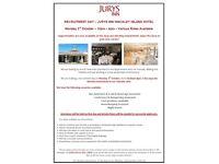 RECRUITMENT DAY – JURYS INN HINCKLEY ISLAND HOTEL - Monday 3rd October – 10am – 4pm