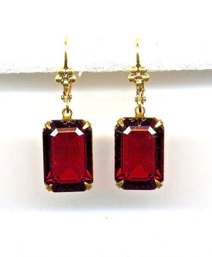 Bohemian GARNET red emerald-cut crystal EARRINGS 14K Gold gp Levers *Vtg Czech