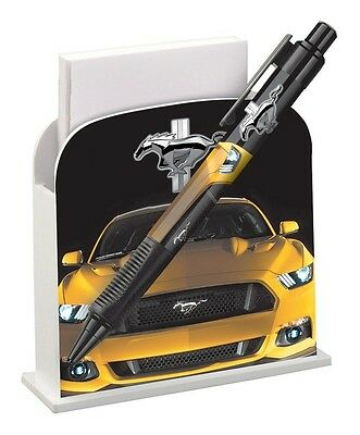 Brand New Yellow Ford Mustang Refillable Desk Caddy W Grip Write Pen Paper